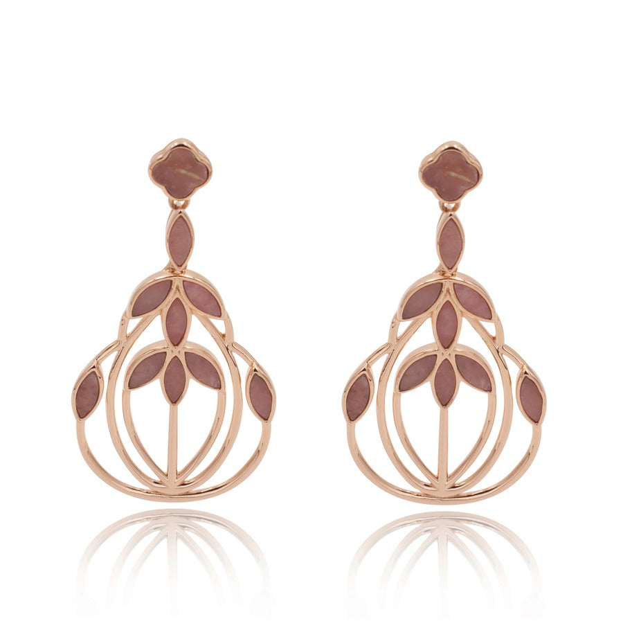 Floral Escape Pink Opal Cocktail Earrings Mini