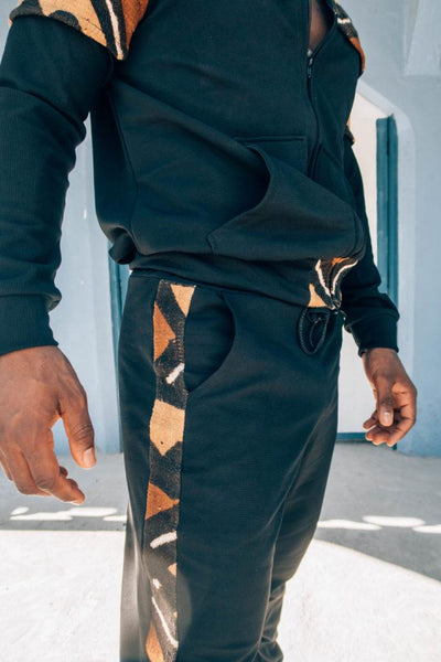 Jogging pants with bogolan fabric