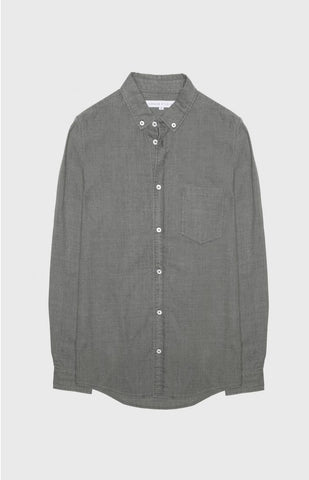 Button Down Poplin Denim Shirt - charcoal