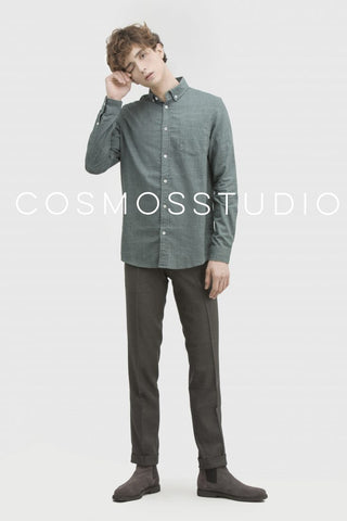 Button Down Poplin Denim Shirt - Olive