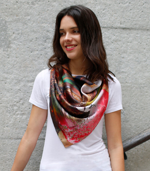 """Jungle"" Silk twill scarf"