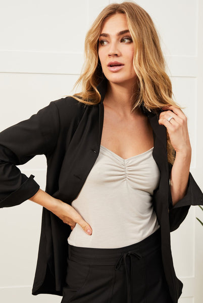Strappy top with built-in bra shelf