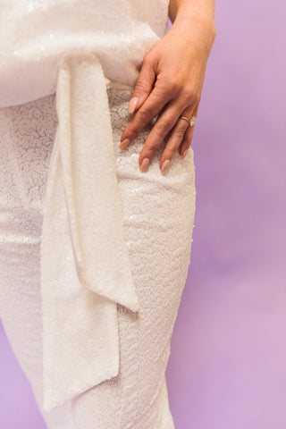 4 Ways to style white sequin pants