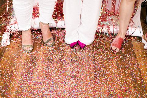 Pink shoes and confetti