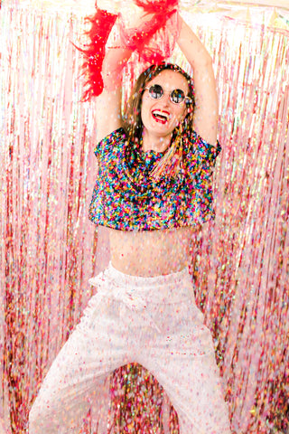 Girl in sequins and confetti