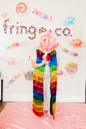 Rainbow Tinsel Floor Length Duster