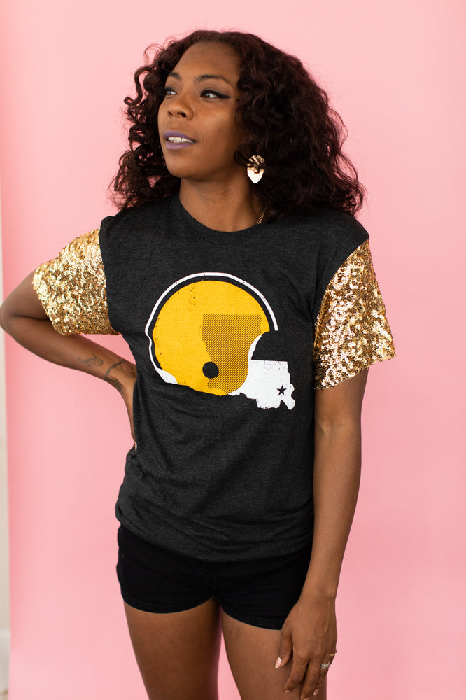 Dirty Coast Gold Sequin Sleeve Party Tee