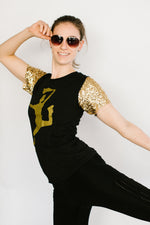 Saintsation Jesse Gold Sequin Sleeve Party Tee