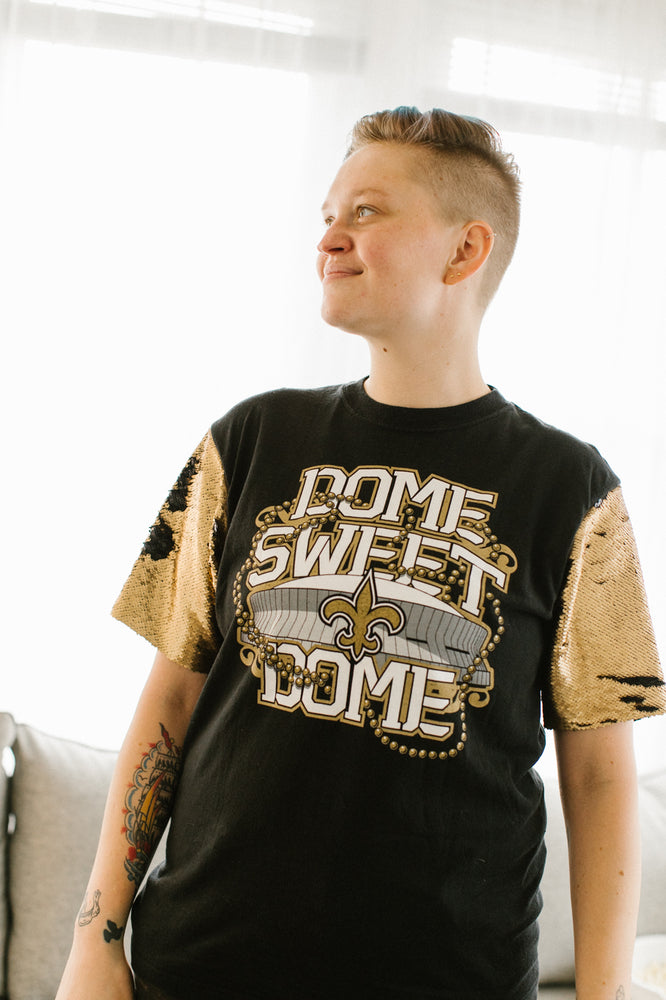 Dome Sweet Dome Saints Gold and Black Sequin Sleeve Party Tee