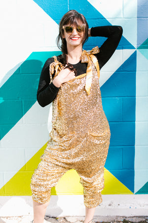 Gold Sequin Party Jumpsuit