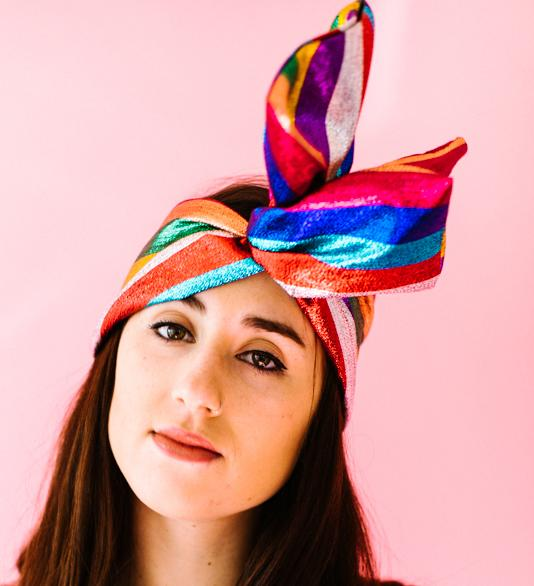 Rainbow Metallic Stripe Festival Headwrap