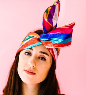 Rainbow Metallic Stripe Headwrap