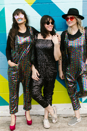 Black Sequin Party Jumpsuit