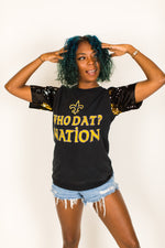 Who Dat Nation Black and Gold Sequin Sleeve Party Tee