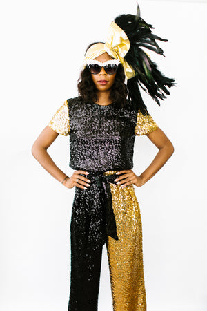 Black and Gold High Waisted Sequin Pants