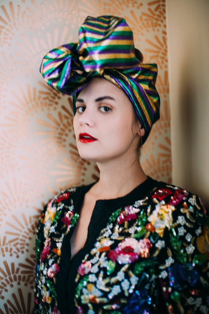 Mardi Gras Metallic Stripe Headwrap
