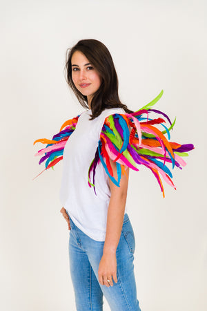 White Tee with Rainbow Feather Party Tee