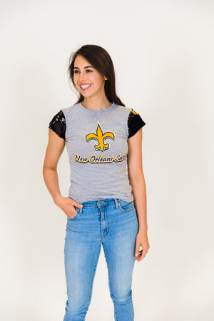 New Orleans Saints Black and Gold Sequin Sleeve Party Tee