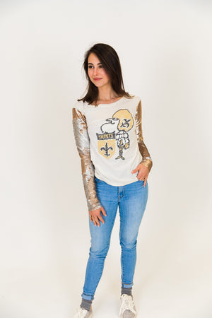 New Orleans Saints Champagne Gold Sequin Sleeve Party Tee