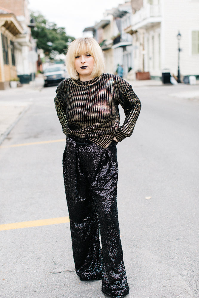 Black High Waisted Sequin Party Pants