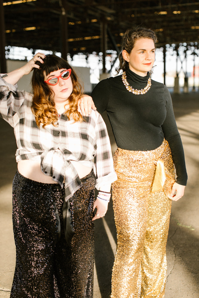 Gold High Waisted Sequin Party Pant