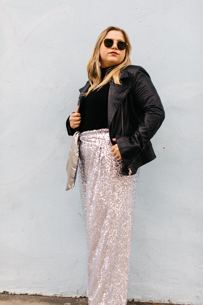 Silver High Waisted Sequin Party Pant