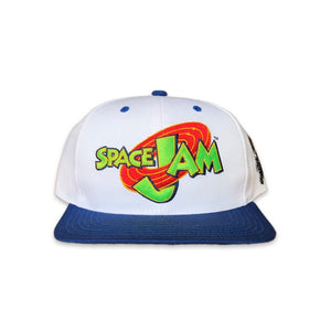 Vintage Warner Bros Space Jam Snapback Cap Hat With Tazmanian Devil on white background