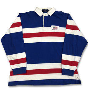 Vintage Polo Sport Ralph Lauren Rugby Striped Rugby Shirt XL