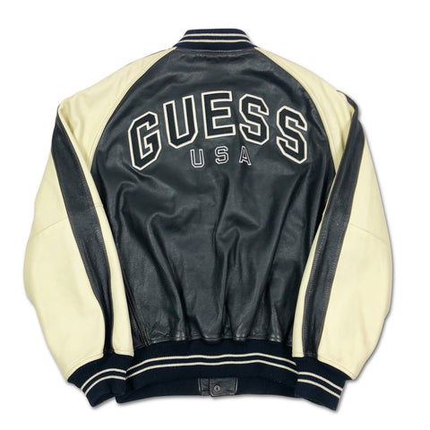 Vintage GUESS Spell Out Leather Jacket XL
