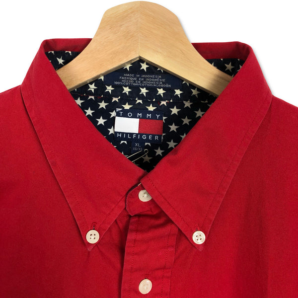 Vintage '90s Tommy Hilfiger USA Big Logo Button Down Shirt Red XL