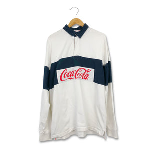 Vintage 90s Coca Cola Spell Out Rugby Rugby Shirt XL