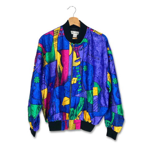 Vintage '80s Womens Satin Pablo Picasso Bomber Zip-Up Jacket Size M