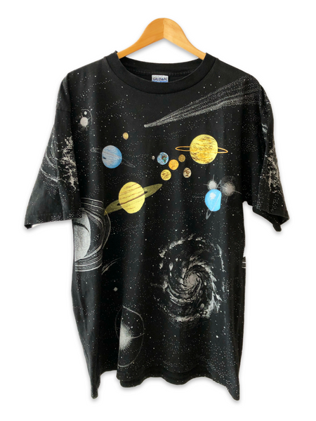 Vintage 1991 Sneaky Tees Universe And Planets All Over Print Tshirt