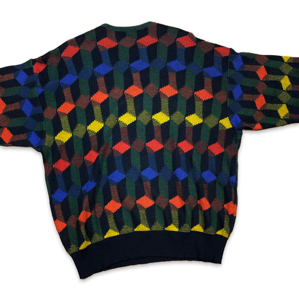 Vintage Carlo Colucci Wool Colorful Diamonds V Neck Pullover 54 XL