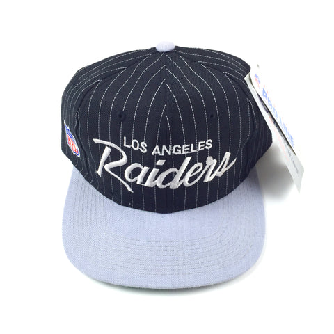 9dac260a3fa Vintage 1990 s Los Angeles Raiders Sports Specialties Pinstripe Script  Snapback Hat