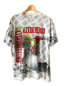 Vintage 90s Chicago Bulls All Over Print Tshirt