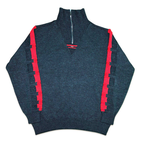 Vintage Carlo Colucci Grey Red 1/4 Zip Up Pullover M