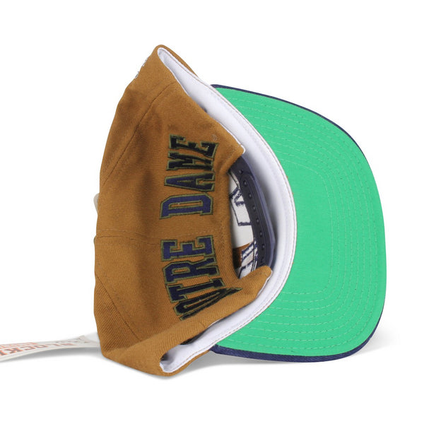 Vintage 1990s Notre Dame Fighting Irish American Needle College Blockhead Snapback Hat