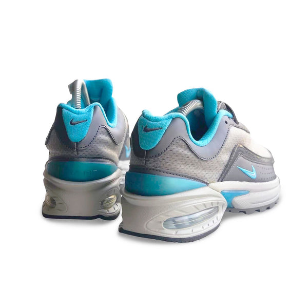 Backside of the Nike Air Max Allure 2004 with grey and mint color accents and big air bubble sole unit.