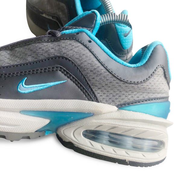 Inside view of the Nike Air Max Allure 2004 with grey and mint color accents and big air bubble sole unit.