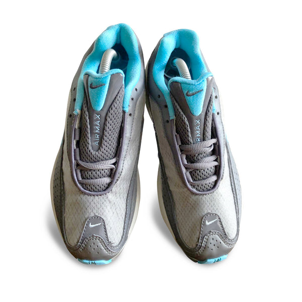 Top view of the Nike Air Max Allure 2004 with grey and mint color accents and big air bubble sole unit.