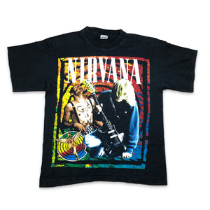 vintage 1990s nirvana tshirt with colorful print front on white background