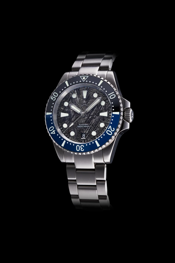 The Axios Ironclad Ocean Gulf Meteorite features a blue-black ceramic bezel complemented by a unique meteorite dial and finished with double domed Sapphire crystal glass.