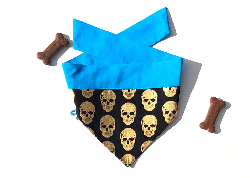 Gold Skulls and Crosses Tie Up Dog Bandana
