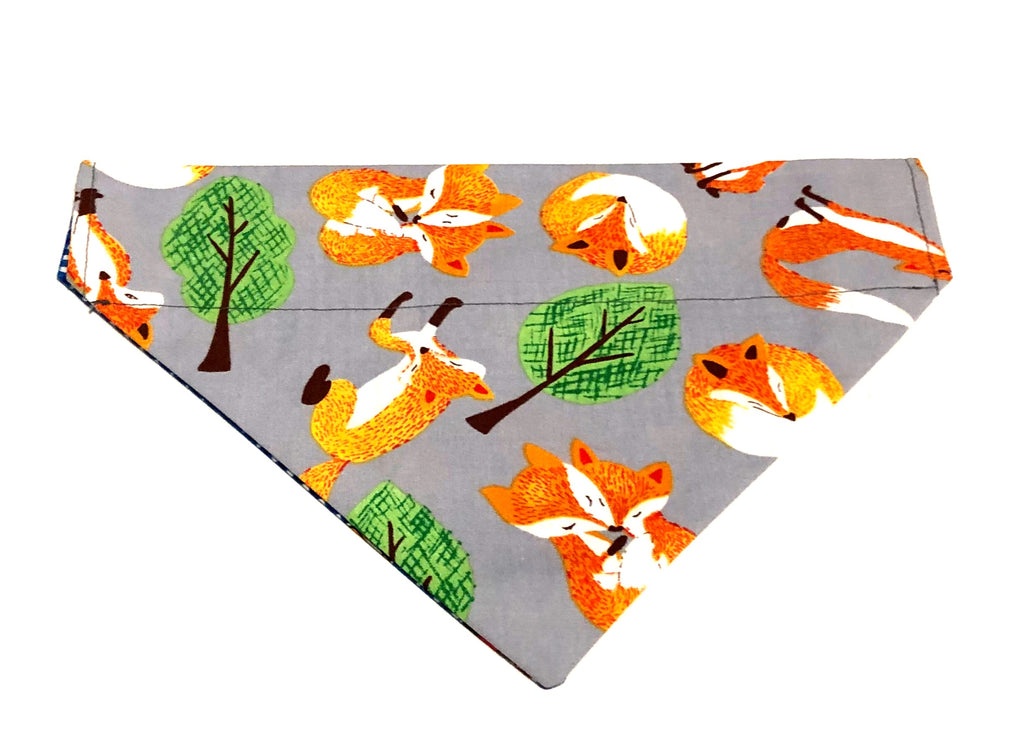 Fox and Cars Reversible Over Collar Dog Bandana