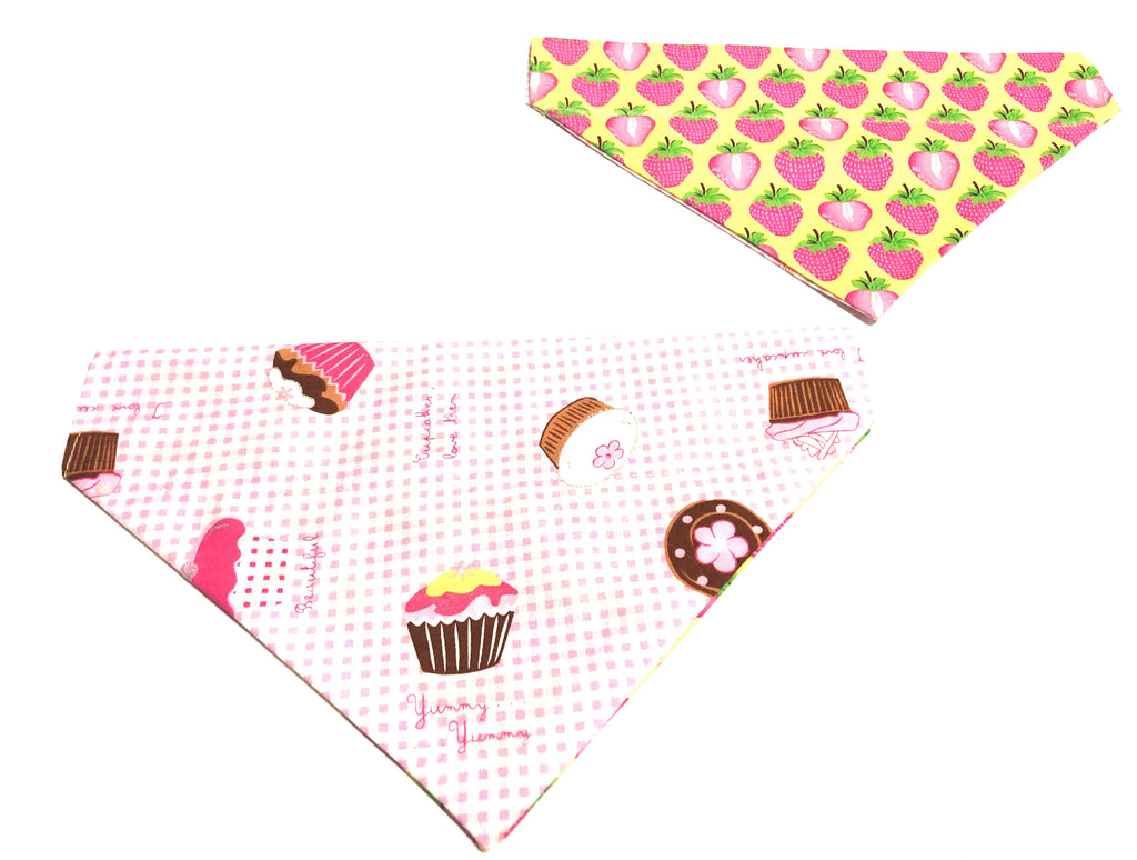 Strawberries & Cupcakes Reversible Over Collar Dog Bandana