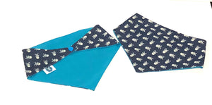 Denim Skulls Snaps Dog Bandana