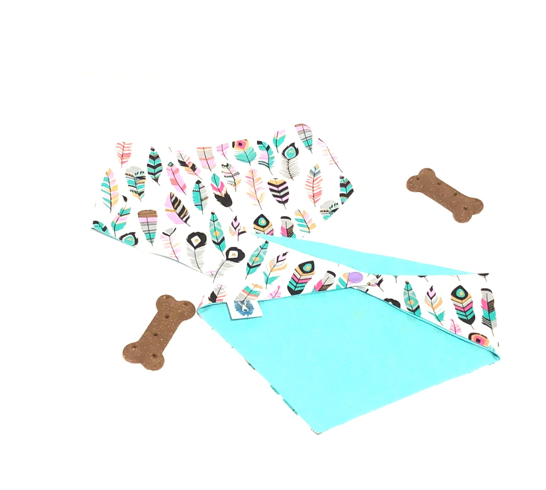 White Feathers Snaps Dog Bandana