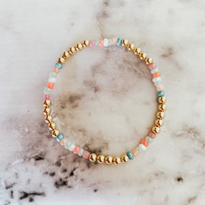 Pastel 14k 4mm Gold Beaded Bracelet