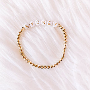 Name Bracelet- Gold & White